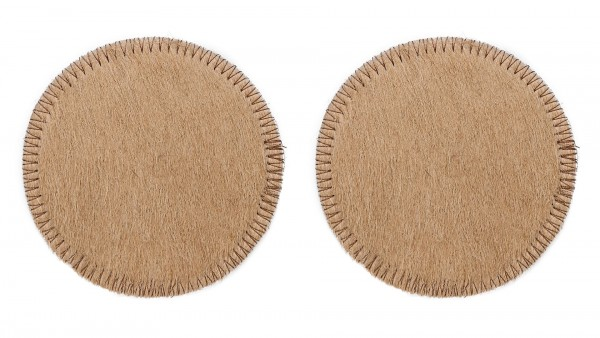 SET OF 2 PCS. COASTERS BEIGE rounded, 11 cm, made from cow hide (2)