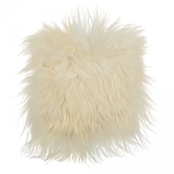 Icelandic lambskin, chair pad, 40x40cm, long hair, natural white, sawn patchwork (2)