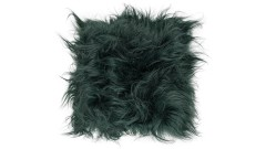 Icelandic lambskin, chair pad, 37x37 cm, long hair, bottle green (1)