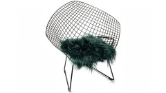 Icelandic lambskin, chair pad, 37x37 cm, long hair, bottle green (2)