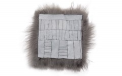 Icelandic lambskin, chair pad, 37x37 cm, long hair, dusty rose, sawn patchwork (1)