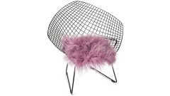 Icelandic lambskin, chair pad, 37x37 cm, long hair, dusty rose, sawn patchwork (2)