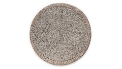SET OF 2 PCS. COASTERS GREY rounded, 11 cm, made from cow hide (1)