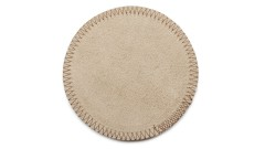 SET OF 2 PCS. COASTERS GREY rounded, 11 cm, made from cow hide (2)
