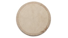 SET OF 2 PCS. COASTERS BEIGE rounded, 11 cm, made from cow hide (4)